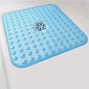Shower Bath mat Non Slip,21x21 inch bathmats for Bathroom Nonslip,with Drain Holes, Suction Cups, BPA, Latex, Phthalate Free, Machine Washable (Blue) - Better Daily Goods