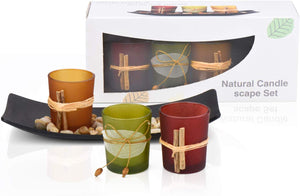 3 Decorative Candle Holders Rocks and Tray Gift Party Natural Candlescape Set