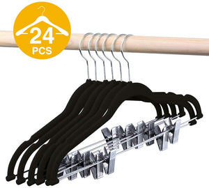 Black Color Pack of 24 Velvet Hangers with Clips - Better Daily Goods