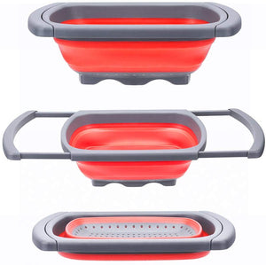 Glotoch Kitchen Collapsible Colander, Over The Sink Strainer With Steady Base For Standing, 6-quart Capacity, Dishwasher-Safe,BPA Free (Red&Grey) - Better Daily Goods