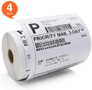 Fuxury 4x6 Shipping Labels (4 Roll - 250 Labels Per Roll),for Zebra Compatible Shipping Labels Thermal Shipping Postage Label for Datamax, Sato,2844 Zp-450 Zp-500 Zp-505 Printers, 4 Pack 600Count