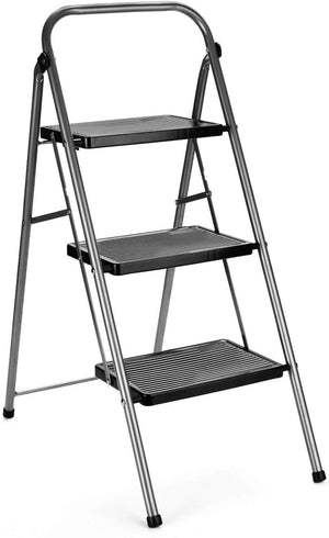 3 Step Stool Folding Step Stool Steel Lightweight 3 Step Ladders with Handle Anti-Slip Sturdy and Wide Pedal Steel Kitchen Step Stool Ladder Gray and Black Combo 2-Feet (3 Step Stool) - Better Daily Goods