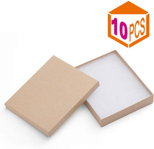 Cardboard Paper Box for Jewelry and Gift 6x5x1 Inch Thick Paper Box With Cotton Lining (Brown - 10 Pcs) - Better Daily Goods