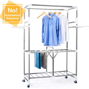 Portable Clothing Garment Rack Stainless Rolling - Better Daily Goods