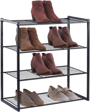 HOUSE DAY 4 Tier  Black Shoe Rack Organizer Entryway Shoe Storage