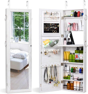 Titan Mall Jewelry Cabinet Wall Door Jewelry Organizer Mounted Lockable Jewelry Armoire Organizer with Full-Length Mirror Dressing Mirror Makeup Jewelry Storage(White)