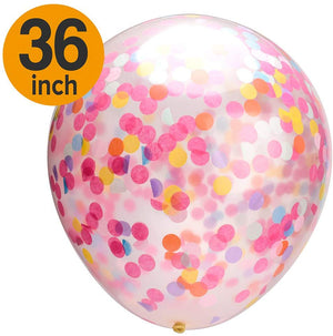 MESHA Confetti Balloons 36 Inches Jumbo Party Balloons with Colored Ribboon for Wedding Christmas Wedding Decorations Events Proposal Pack of 5