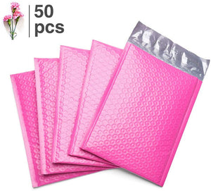 Fu Global 50pcs 6x10 inches Pink Poly Bubble Mailer #0 Self Seal Padded Envelopes (Useful Size 6x9)