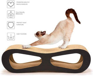 Delxo Cat Scratcher Durable Reversible Cat Scratching Pad Recycled Harden Corrugated Cardboard Sturdy Eco-Friendly Design Maintain Healthy Cat Claws and Protect Furniture Catnip (8 Shap Pads)