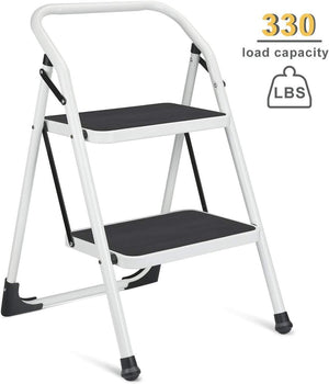 2 Step Ladder Portable Step Stool with Handgrip Anti-Slip and Wide Pedal Sturdy Steel Ladder Multi-Use for Home,Garden and Office Provide The Extra Height to Reach Up High Place 330lbs (2 feet) - Better Daily Goods