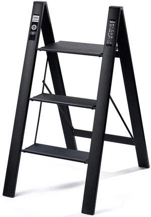2 in 1 Lightweight Aluminum 3 Step Ladder Stylish Invisible Connection Design Step Ladder with Anti-Slip Sturdy and Wide Pedal Ladder for Photography,Household and Painting 330lbs 3-Feet(Black) - Better Daily Goods