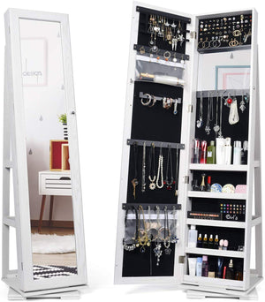 Jewelry Organizer Standing Jewelry Armoire with Mirror 360 Rotating Jewelry Cabinet Full Length Mirror Wall Mounted Jewelry Organizer 2019 Upgrade - Better Daily Goods