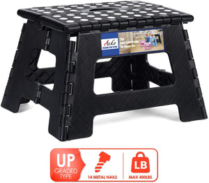 Folding Step Stool 14 Pcs Steel Nail Reinforced Heavy Duty Stepping Stool More Safe and Longer Accompany Non Slip Foldable Step Stool for Kids and Adults Black - Better Daily Goods
