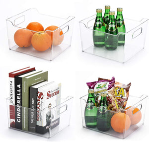 Deep Plastic Kitchen Storage Organizer Container Bin with Handles for Pantry, Cabinets, Shelves, Refrigerator, Freezer - BPA Free, 4 Pack - Clear - Better Daily Goods