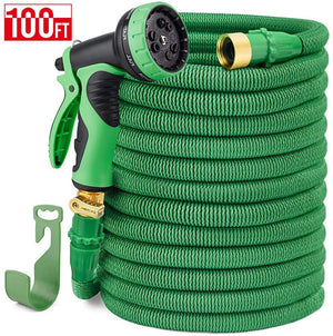 "Delxo 100FT Expandable Garden Hose Water Hose with 9-Function High-Pressure Spray Nozzle,Black Heavy Duty Flexible Hose, 3/4"" Solid Brass Fittings Leakproof Design (Green)"