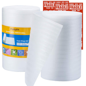 "FUXURY Foam Wraps Roll 2 Rolls,12 Inches by 120 Feet Total,120 Pack 12"" X 12"" Foam Wrap Sheets for Packing Storage,Foam Wraps Cushioning for Moving Shipping Supplies,20 Fragile Sticker Labels"
