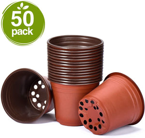 Delxo 50 Pcs 6 Inch Plants Nursery Pots Reusable Plant Seeding Nursery Pot Waterproof Plastic Pots Seed Starting Pots