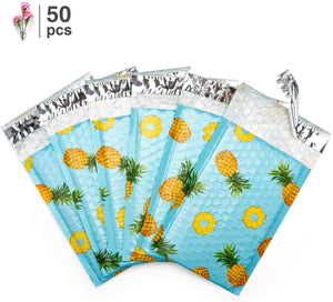 Fu Global #000 Pineapple Poly Bubble Mailers Designer Boutique Custom Padded Envelopes High-Grade Pearlescent Teal Color Pack of 50