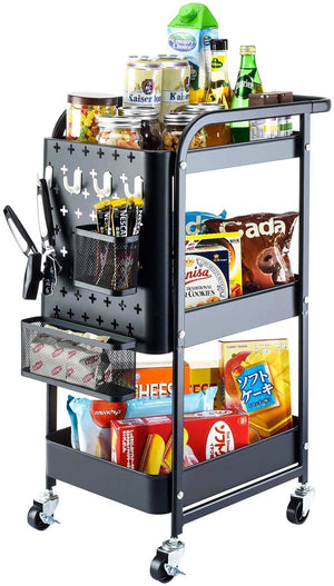 Titan Mall Metal Storage Rolling Cart, 3-Tier Organizer Cart with Removable Pegboard Hooks and Utility Handle for Kitchen Office Classroom, Black