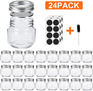 Glotoch Mason Jars 8OZ With Regular Lids and Bands, Ideal for Jam, Honey, Wedding Favors, Shower Favors, Baby Foods, DIY Magnetic Spice Jars, 24 PACK, Included 24 Chalkboard Labels and1 brush