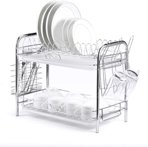 Glotoch Dish Drying Rack, 2 Tier Dish Rack with Utensil Holder, Cup Holder and Dish Drainer for Kitchen Counter Top, Plated Chrome Dish Dryer Silver 16.5 x 9 x 14 inch