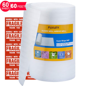 "FUXURY Foam Wrap Roll 12""x60' (Feet),60 Pack 12"" X 12"" Packing Foam Sheets Packing Supplies for Moving,Packing Supplies Foam Wrap Moving Supplies Free Fragile Sticker Labels"