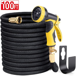 "100FT Expandable Garden Hose Water Hose with 9-Function High-Pressure Spray Nozzle,Black Heavy Duty Flexible Hose, 3/4"" Solid Brass Fittings Leakproof Design (Black) - Better Daily Goods"
