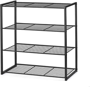 Shoe Organizer Free Standing Shoe Rack 4 Tier Shoe Rack Black Metal Shoe Rack 25 Inch Wide Shoe Tower Shelf Storage - Better Daily Goods