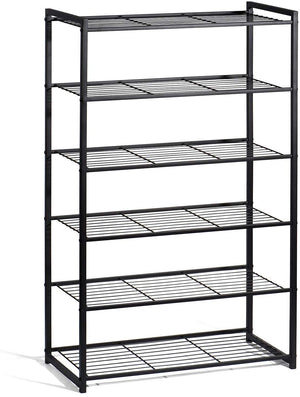 Shoe Rack 6 Tiers Shoe Organizer Free Standing Shoe Rack Metal Shoe Rack 25 Inch Wide Shoe Tower Shelf Storage - Better Daily Goods