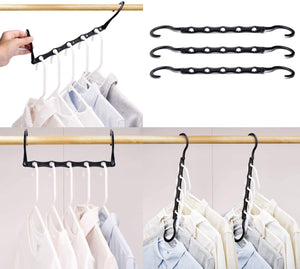 Black Magic Hangers Space Saving Clothes Hangers Organizer Smart Closet Space Saver Pack of 10 with Sturdy Plastic for Heavy Clothes - Better Daily Goods