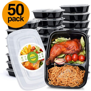 50 Pack 32 Oz Food Storage Containers Set With Lid for Meal Prep and Portion Control in 2 Compartment Bento Box Microwaveable Freezer & Dishwasher Safe - Better Daily Goods