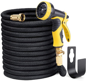 "Delxo 50FT Expandable Garden Hose Water Hose with 9-Function High-Pressure Spray Nozzle,Black Heavy Duty Flexible Hose, 3/4"" Solid Brass Fittings Leakproof Design (Black Hose)"