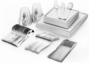 Glotoch 150 Pcs Silver Square Plates & Disposable Silverware & Plastic Cups, Silver Plastic Dinnerware set Include: 25 Dinner Plates, 25 Dessert Plates, 25 Forks, 25 Knives, 25 Spoons, 25 Tumblers