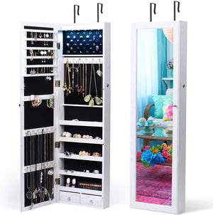 Jewelry Organizer 6 LEDs Jewelry Cabinet with Mirror Lockable Wall Door Mounted Jewelry Armoire Organizer with Full Length Mirror (White) - Better Daily Goods