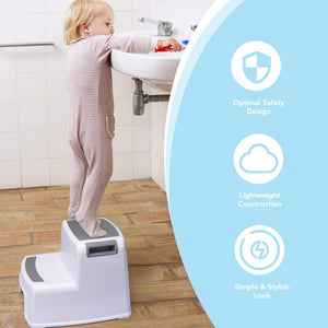 2 Step Stool for Kids - Childrens,Toddler Stool with Slip Resistant Soft Grip for Safety as Bathroom Toilet Potty Training Stool and Kitchen Stepping Stool | Dual Height & Wide Two Step-BPA Free - Better Daily Goods
