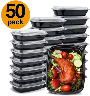 Meal Prep Containers 32 Ounce Containers Single 1 Compartment With Lids Food Storage Containers Bento Box Microwave Freezer Dishwasher Safe Lunch Containers (50) - Better Daily Goods