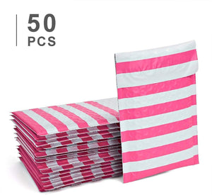 Fu Global #000 4x8 Inches Christmas Poly Bubble Mailers Designer Boutique Custom Padded Envelopes High-Grade Pearlescent Red and White Striped Pack of 50
