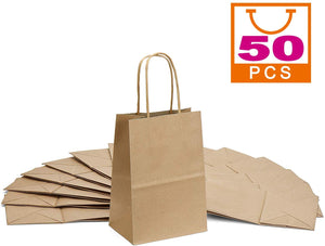 Brown Kraft Paper Bags, Mesha 50pcs Gift Bags with Handle,Small Paper Shopping Bags,Paper Party Favor Bags,Retail Paper Bags Bulk