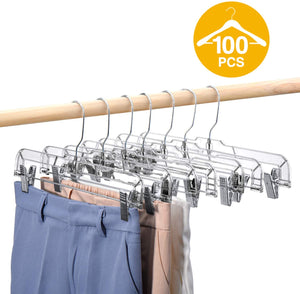 100 Pack 14 Inch Clear Plastic Skirt Hangers with Clips - Better Daily Goods