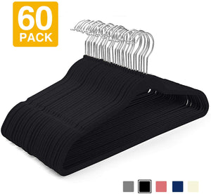 Black Color 60 Pack Non-Slip Velvet Suit Hangers - Better Daily Goods