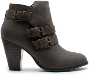 Forever Women's Buckle Strap Block Heel Ankle Booties - Better Daily Goods