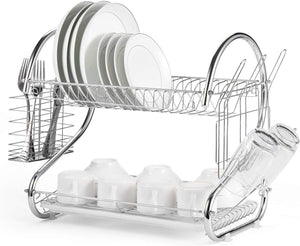 Dish Drying Rack 2 Tier Dish Rack With Utensil Holder Cup Holder and Dish Drainer for Kitchen Counter Top Plated Chrome Dish Dryer Silver 16.5 X 10 X 15 Inch - Better Daily Goods