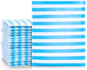 Fu Global #2 8.5x12 Inches Poly Bubble Mailers Padded Envelopes Pack of 25 (Blue Stripe)