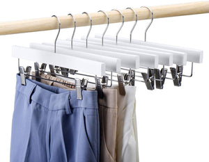 White Color Wooden Pants Hangers 25 Pcs 14 Inch Wood Skirt Hangers - Better Daily Goods
