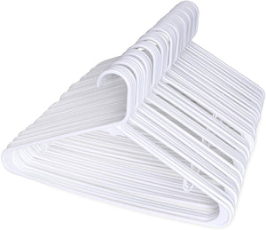 60PACK White Plastic Tubular Adult Hangers 16.5 Inch Light-Weight Plastic Hanger 60pcs - Better Daily Goods