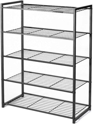 HOUSE DAY 5 Tier  Black Shoe Rack Organizer Entryway Shoe Storage