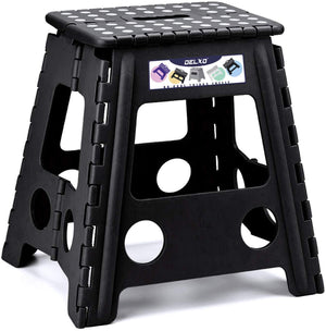 Delxo Folding Step Stool 16 inch Plastic Folding Stool,Kitchen Step Stool,Non Slip Foldable Step Stool for Adults,Plastic Stepping Stool,Black