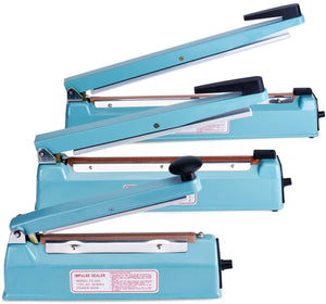 Fuxury 8-16 Inches Impulse Heat Sealer Used Pure Copper Transformer, Manual Bag Sealer Heat Seal Closer + 2 Free Replacement KIT (Blue, 8 Inches)