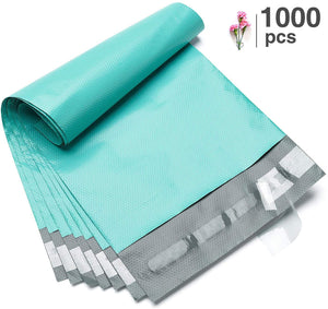 Fuxury 1000 Pcs 6x9 Teal Poly Mailer Envelopes Embossed dots Design Shipping Bags with Self Adhesive Postal Bags