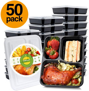 50 Pack 34 Ounce Lunch Box Containers Set with Lid for Meal Prep and Portion Control in 3 compartment food containers-Microwaveable Freezer & Dishwasher Safe - Better Daily Goods